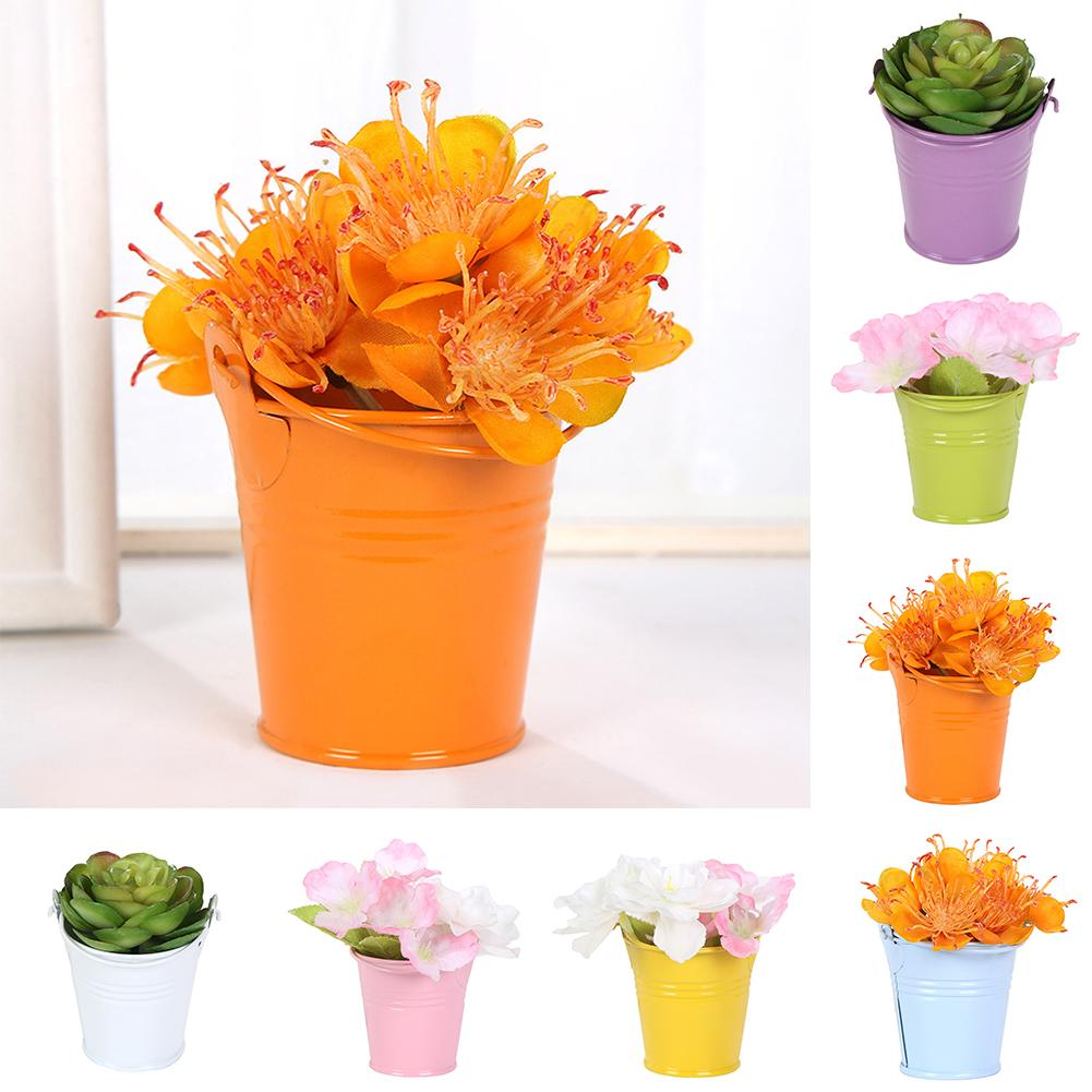 Cute Mini Solid Color Pail Bucket Wedding Party Candy Favours Home Hotel Decor Flower Pots Planters