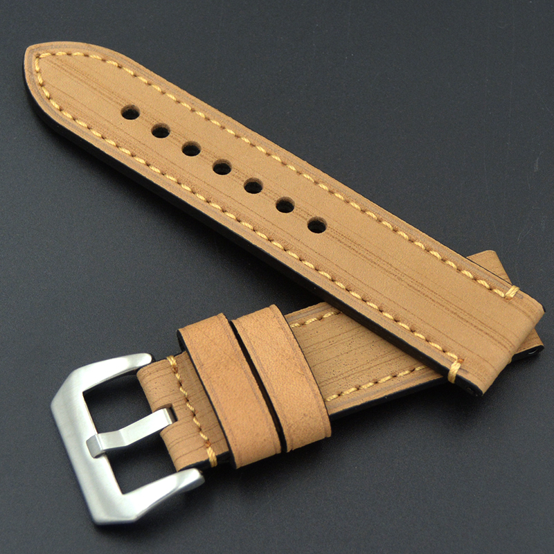 Купить с кэшбэком Watch Band 20 22 24 26mm Men's high quality Calf Leather Watch Strap For Panerai Omega Seiko Various brands of large watches