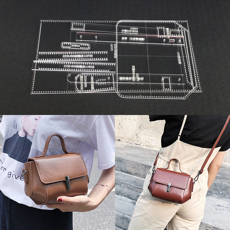 1 Set Acrylic Diy Female Handbag Shoulder Bag Leather Template DIY Leathercraft Tool Accessory Sewing Pattern 9x13x20cm