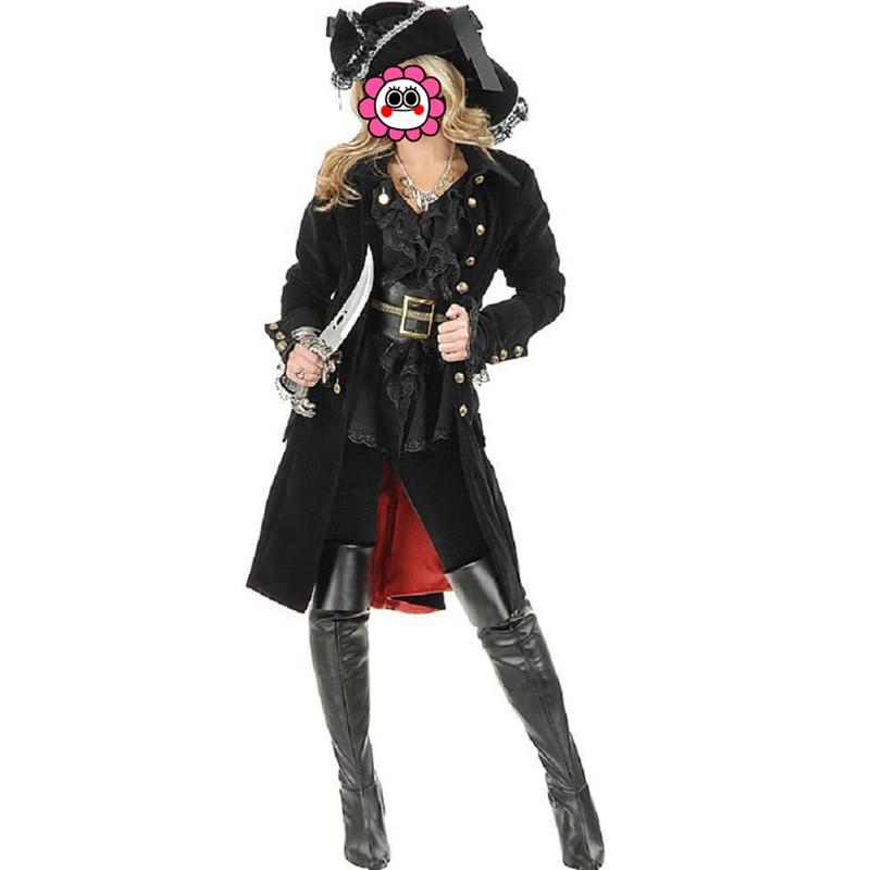 Nouveauté reine chevalier Halloween femme noir Pirate Costumes femmes Sexy classique somalien Pirate Cosplay Costumes avec chapeau