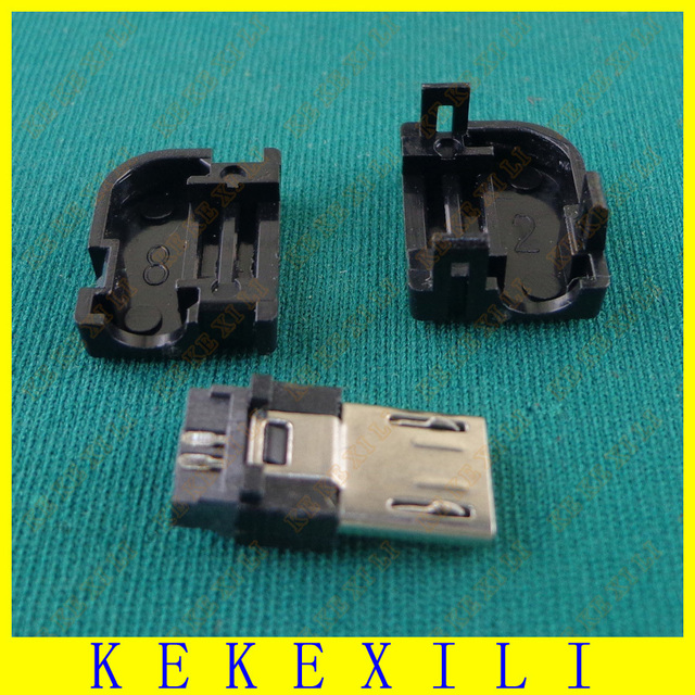 Solder type Micro USB 90 degree plug DIY Weld wire type Solder Wire ...