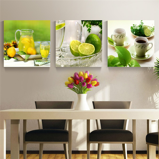 Unframed 3 Panel Modern Printed Fruits Lemon Painting Picture On