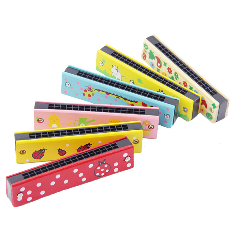 Musical Toys 16 Holes Harmonica Wooden Harp Woodwind Music Instrument Educational Funny Toys For Children Kids Baby 烤 雞 帽子