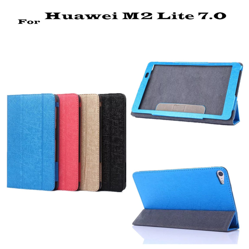 M2 Lite PLE-703L Ultra thin Filp leather Case cover For Huawei MediaPad T2 7.0 Tablet Cover +protector