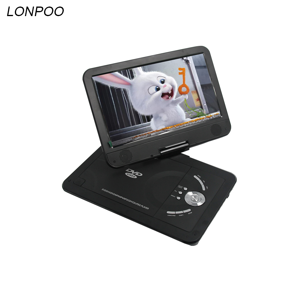 LONPOO Portable DVD Player RCA Car Charger Portable 10.1 Inch Swivel Screen DVD Player for Cars Game USB with Battery Portable