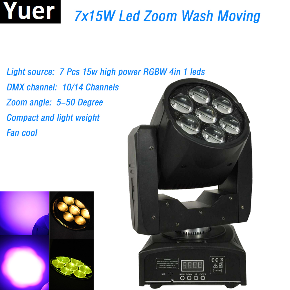 7x15W Led RGBW 4in1 Wash Moving Head Light zoom function 10/14 channels dmx 512 control Bar DJ Disco Professional Stage Lights стоимость