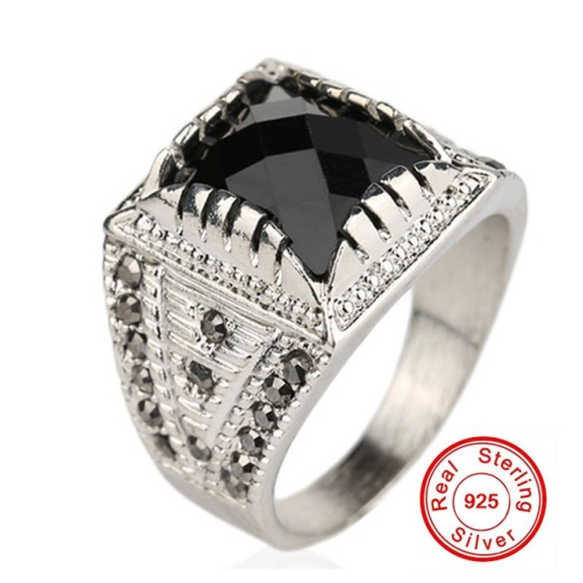 GALAXY Classic Vintage Men Ring Real Silver Plated Black Stone