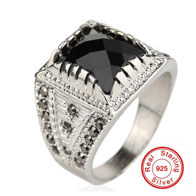 galaxy classic vintage men ring real silver plated black stone crystal wedding rings for men ring