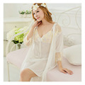 New 2015 Will Innes Sexy Nightdress Women Lace Embroidered Robe Lingerie Sleepwear Ice Silk Nightgown