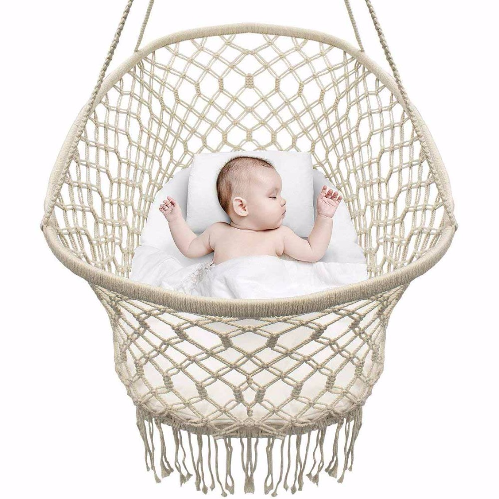 Baby Crib Cradle, Hanging Bassinet and Portable Swing for Baby Nursery Rope Fringe Measures 35