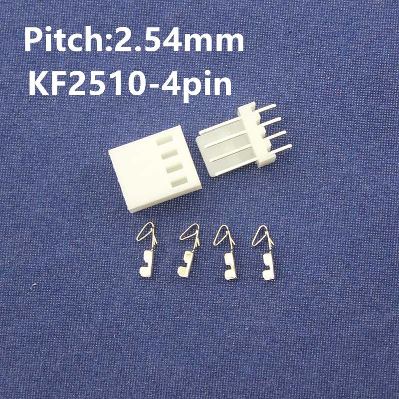 Free Shipping 50 sets  KF2510-4pin 2.54mm Pitch Terminal / Housing / Pin Header Connector  Adaptor KF2510-4P Kits 100sets lot connector ch3 96 molex 3 96 3pin 180 degrees top entry pitch 3 96mm pin header terminal housing ch3 96 3p