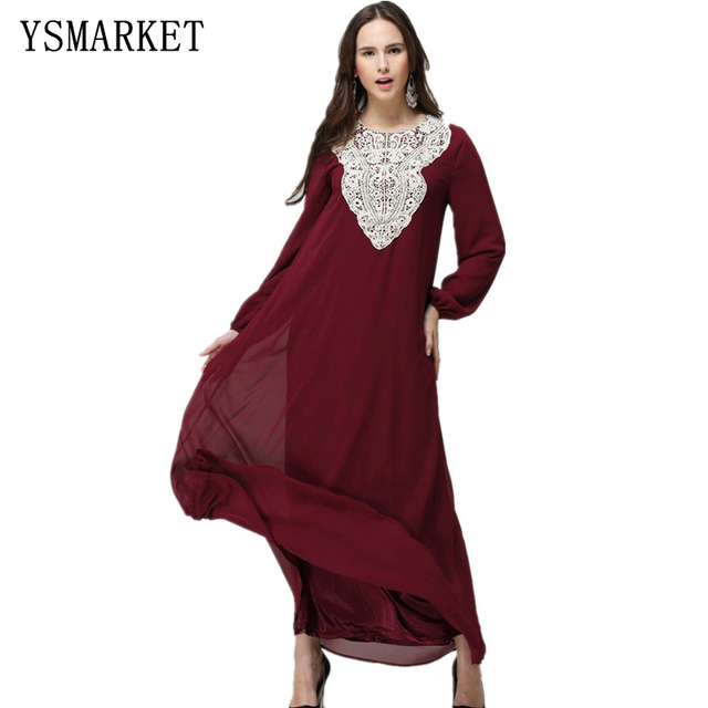 e667160e9d3 Muslim Plus Size Long Sleeve Chiffon Fall Indian Embroidery Ethnic Maxi  Islamic Women Dress Clothing Robe Kaftan 7XL E9040