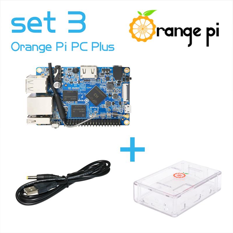 Prix pour 2016 orange pi pc plus ensemble 3: PC Plus + ABS Transparent Cas + USB à DC 4.0 MM-1.7 MM câble d'alimentation pas pour Framboise