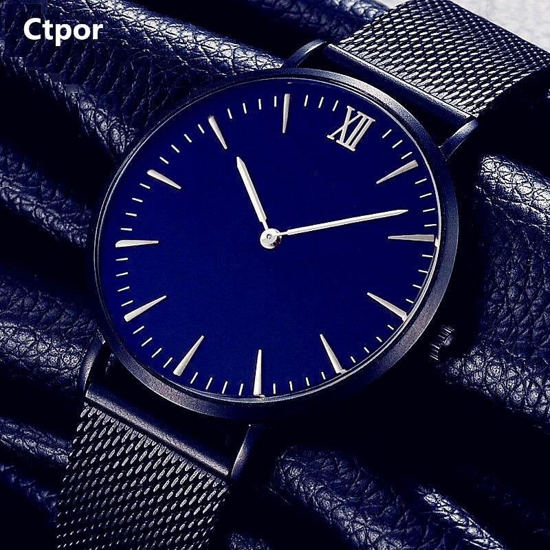 NO Logo Men's Watch Fashion Stainless Steel Black  Watchband Quartz Clock Ctpor Brand Design Blue Dial Male Casual Wrist watches stylish 8 led blue light digit stainless steel bracelet wrist watch black 1 cr2016