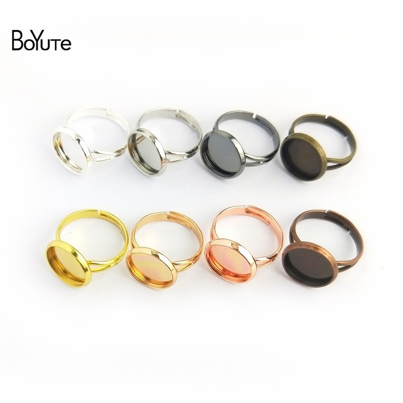 BoYuTe 50Pcs 7 Colors Round 10MM 12MM 14MM 16MM 18MM 20MM Ring Blanks Adjustable Ring Base On Cabochon Rings for jewelry Making
