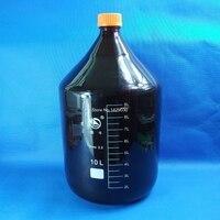 10000 ML amber büyük Cam reaktif şişesi vidalı kapak kalın duvar laboratuvar reaktif şişesi Ücretsiz kargo