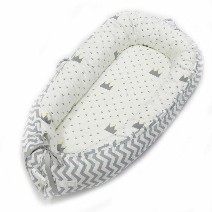Детская кроватка-гнездо переносная съемная и моющаяся кроватка дорожная кровать для детей Младенческая Детская Хлопковая Колыбель - Цвет: Blue waves crowns