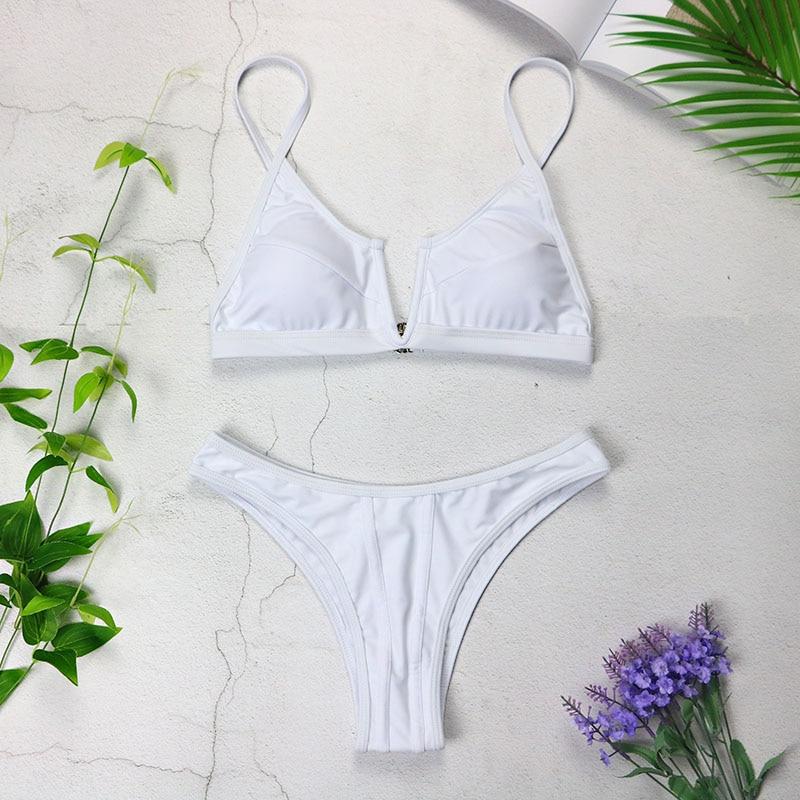 Sexy Bandeau Bikinis 2019 New V Neck Bikini Swimsuits Push Up Swimwear Female Brazilian Bikini Set Bathing Suits Biquini 3418