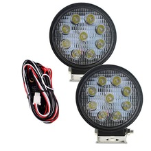 2 PCS super bright 27W LED Work Light Spot Driving Lamp Waterproof Fog Lights with Wiring Harness for Truck Car Offroad Jeep possbay car fog light for toyota yaris hatchback ncp9 2006 2010 angel eyes white lights front lights lamp with wiring harness