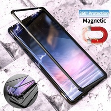Magnetic Adsorption Case For Samsung Galaxy S8 Plus S9 Note 9 8 Clear Tempered Glass + Built-in Magnet Case Metal Cover Capa