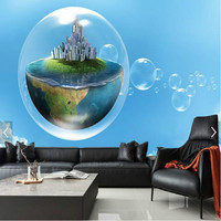 Fresh Creative Water Bubble City 3D Large Wall Murals Wallpaper Living Painting TV Background Wall Three