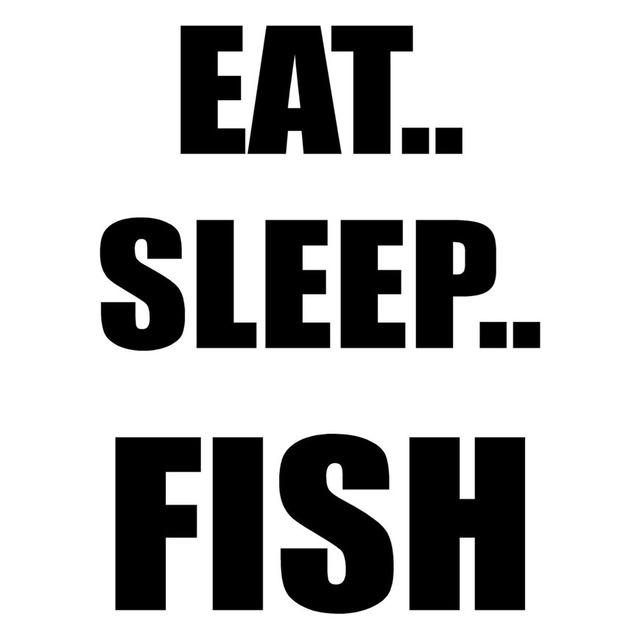 CM EAT SLEEP FISH Funny Text Vinyl Decals Motorcycle Car - Vinyl stickers for motorcycles