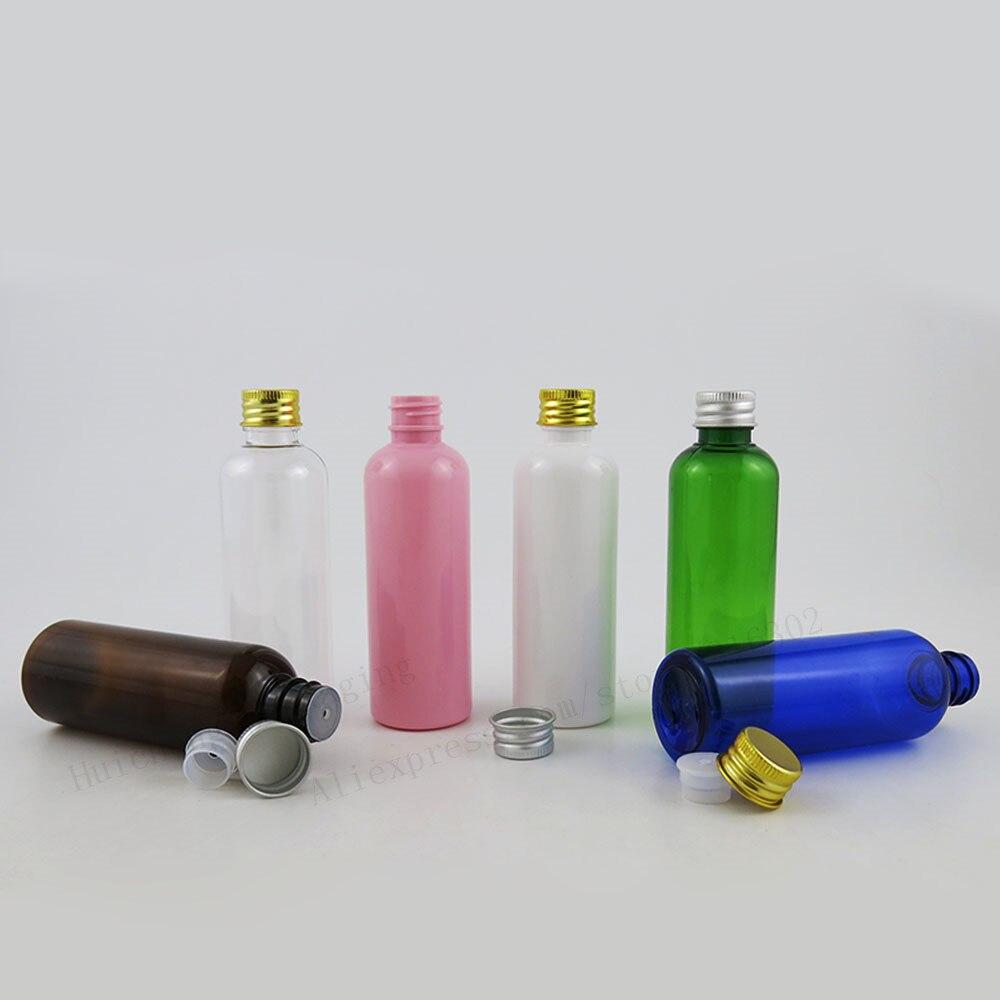30x100 Ml Jelas Amber Biru Hijau Putih Pink Pet Botol Plastik Meja Makan Dengan Tutup Aluminium Insert Krim 100cc