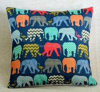 Vintage Linen Pillow Cushion Cover Throw Decorative Cushion Covers 45cm 45cm Colorful Elephant And Flamingo Pillow