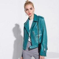 100 Sheepskin Jacket Leather Coat 2017 New Fashion Epaulet Zipper Long Sleeves Loose 3 Colors Jacket