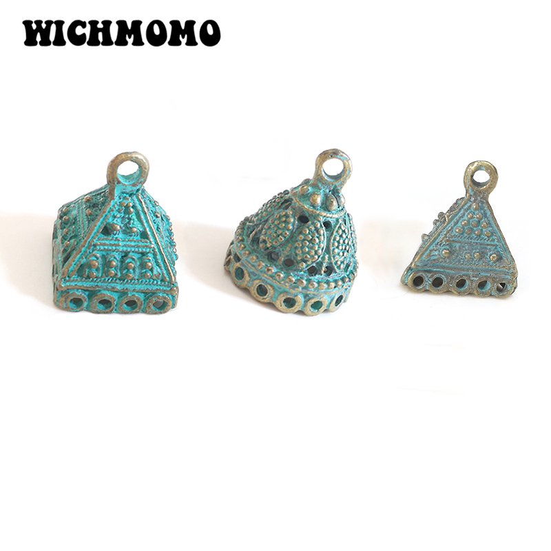 New 5pcs 20MM Retro Patina Plated Zinc Alloy Green Bell Shape BeadsTassels End Cap Charms Pendants for DIY Jewelry Accessories