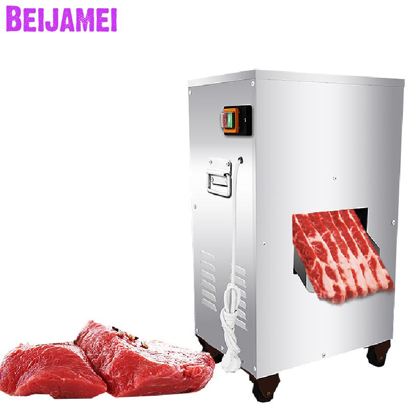 BEIJAMEI 2019 Powerful 2200W 300KG/H Meat Cutting Machine Commercial Vertical Meat Slicer Cutter Machine Price