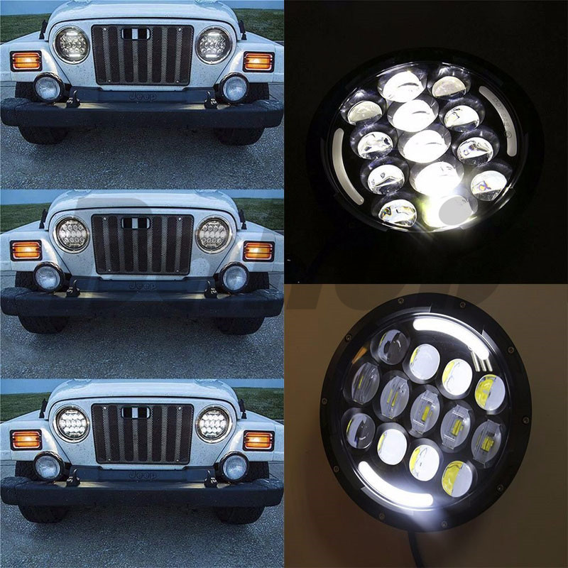 For Lada 4x4 Niva 7 Halo Angel Eye Turn Signal Light 7 Inch Round Daymaker Projector H4 LED Headlight For Jeep Wrangler JK TJ marloo pair 7 led headlight for jeep wrangler jk headlamp with halo angel eye