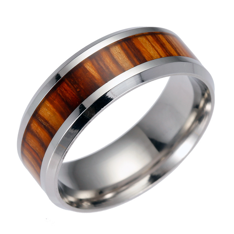 David Kabel 2017 popular wedding inlaid teak wood medical titanium surgical steel wooden ring engagement jewelry Dropshipping