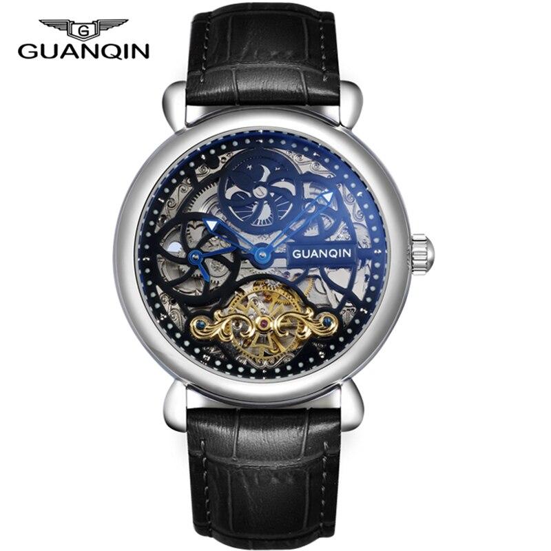 Часы со скелетом GUANQIN, модные мужские часы с большим циферблатом, 10 бар, автоматические часы для плавания, фаза Луны, светящиеся турбийон, механические часы - 2