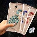 """150*8.65*76mm pavão rhinestone plástico transparente case para xiaomi redmi note 3/nota 3 Pro/Note 3 Prime/Nota 3 Pro Prime 5.5"""""""