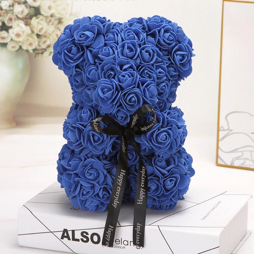Горячая Распродажа, подарок на день Святого Валентина, 25 см, красная роза, плюшевый мишка, цветок розы, искусственное украшение, рождественские подарки для женщин, подарок на день Святого Валентина - Цвет: Navy blue25cm No Box