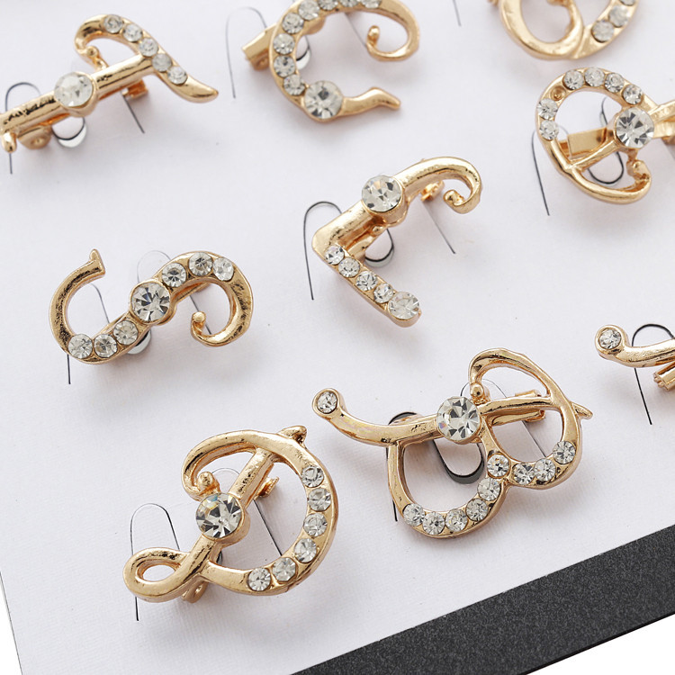 New Brooches Rose Gold Rhinestone Letter For Wedding Women Men Crystal Pin Free Shipping In From Jewelry Accessories On
