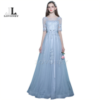 LOVONEY Elegant A Line Floor Length Half Sleeves Long Evening Dress With Appliques Lace Up Open