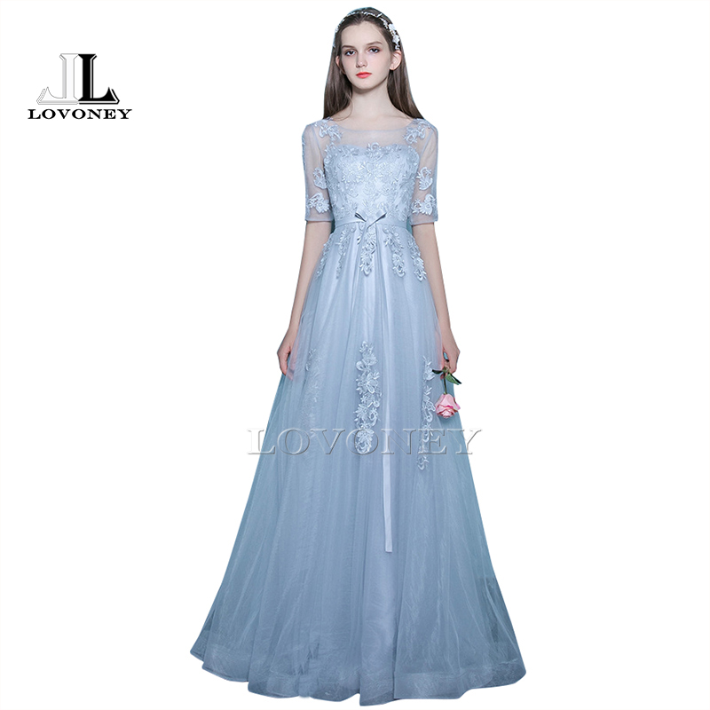 LOVONEY Elegant A-Line Floor-Length Half Sleeves Long   Evening     Dress   with Appliques Lace-Up Open Back Formal   Evening   Gown KD303