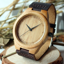 BOBO BIRD New arrival japanese miyota 2035 movement wristwatches genuine leather bamboo wooden watches for men