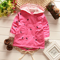 2016 new spring&autumn cotton long-sleeved print feet cute lace hooded windbreaker girls trench jacket children outwear&coat