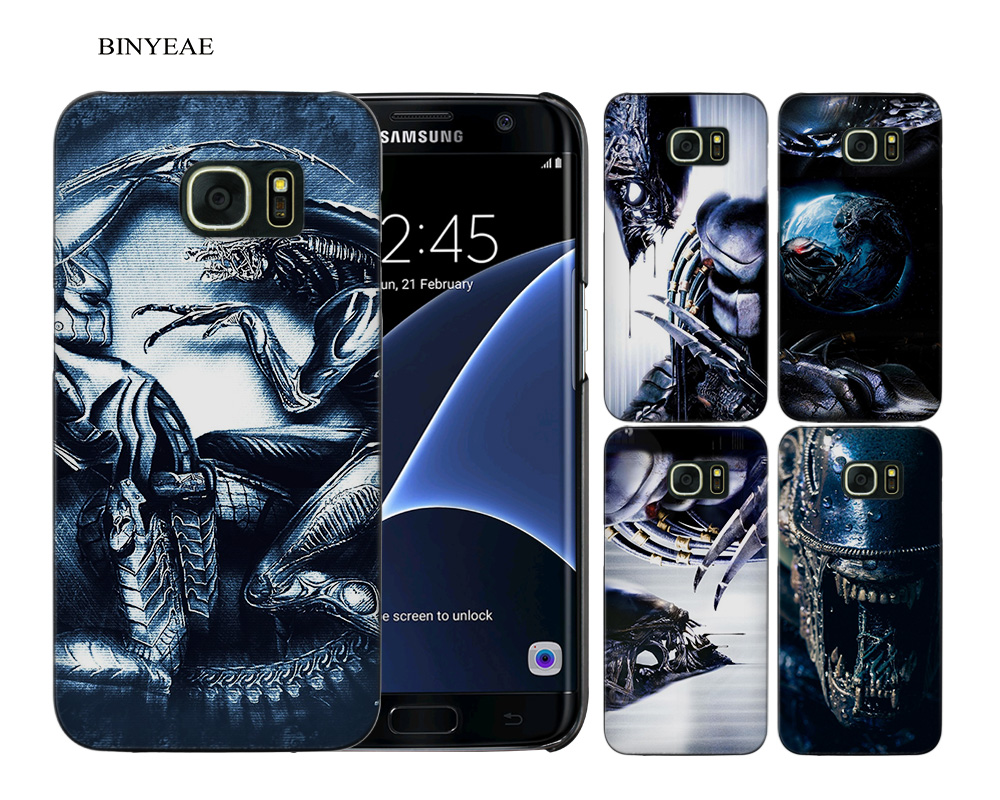 BINYEAE Alien vs Predator Black Hard Case Cover Shell Coque for Samsung Galaxy S9 S8 Plus S7 S6 Edge