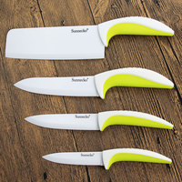 SUNNECKO 4PCS Ceramic Kitchen Knife Set PP Handle Soft Handling Meat Fruit Vegetable Peeler Sharp Blade