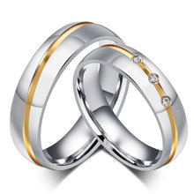 Couple Stainless Steel Rings Silver Color Wedding Crystal Ring For Lovers Romantic Elegant Engagement Party Gift Anllio Anel(China)