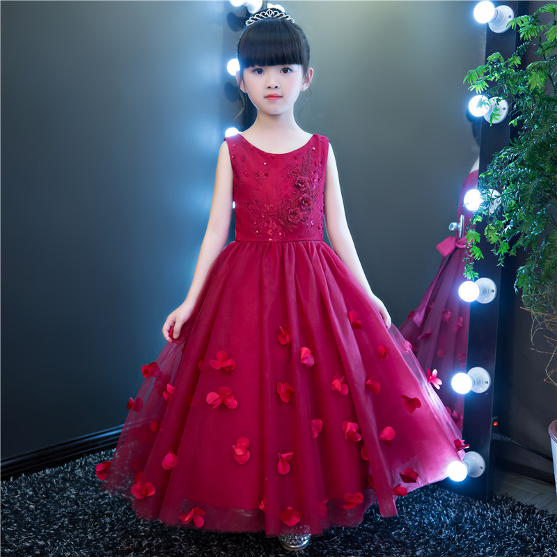 Elegant Red Tulle Flower Girl Dress For Weddings Appliques Party Pageant Princess Gown Long Kid First