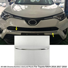 Car styling body cover Bumper engine ABS Chrome trims Front Grid Grill Grille moulding edge 1pcs For Toyota RAV4 2016 2017 2018