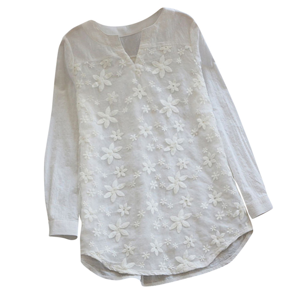 Womail 2018 Summer Women V Neck Embroidery Blouse Autumn Elegant Lace Patchwork Long Sleeve Shirt Loose Top Work Blusa11.JULY.21
