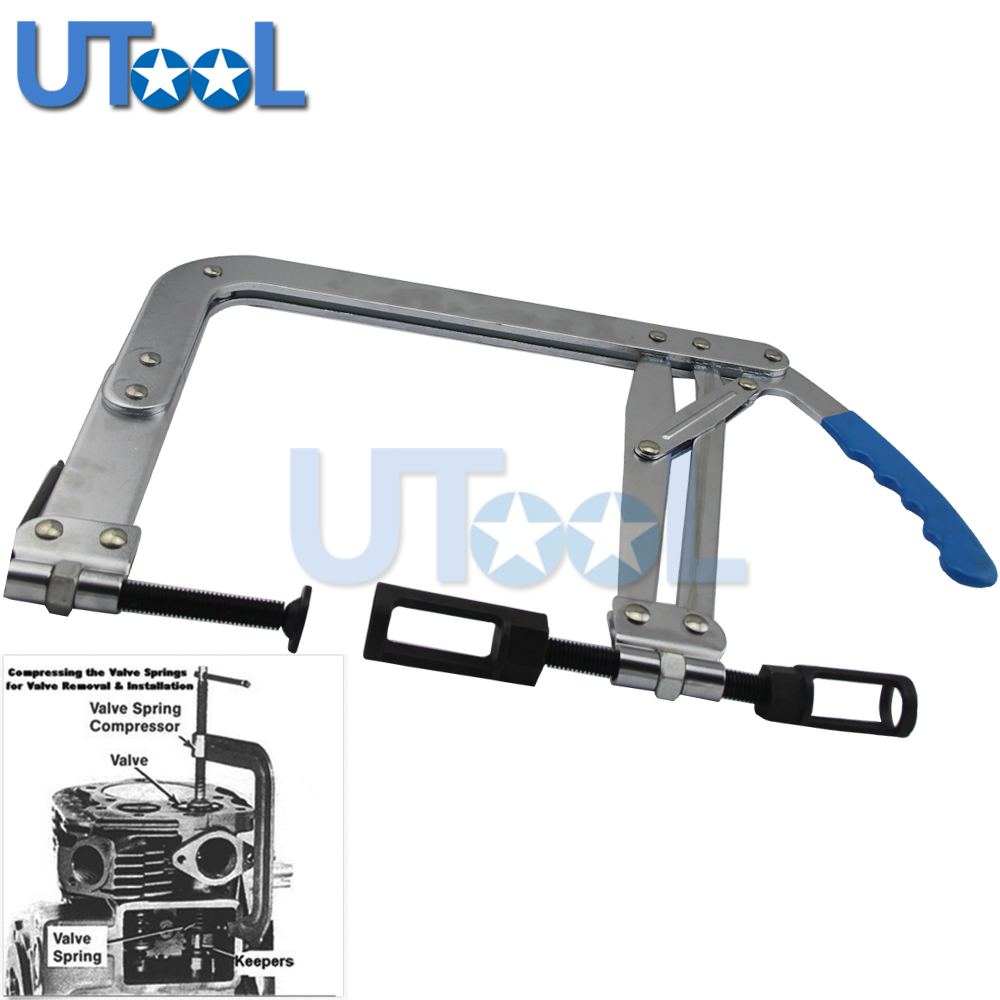 Large Engine Overhead Valve Spring Compressor Removal Tool With 2 Adaptors 25mm 30mm