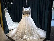 Pakaian perkahwinan renda 2017 sudu leher renda lengan panjang renda kereta api tulle kereta api dengan applique 2017 pakaian talian pengantin gaun