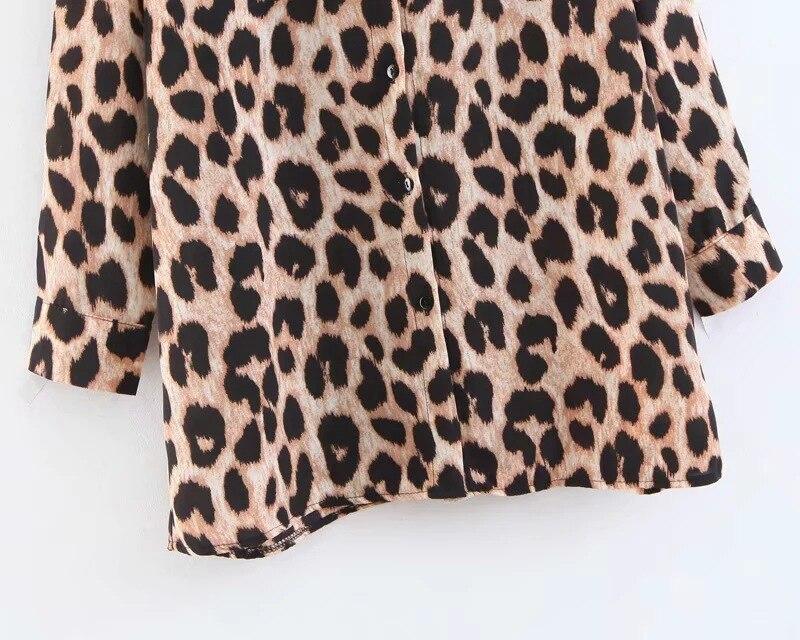 Y Casual Cuello Leopardo Blusa Tops Mujer Femenina Blusas Escote 999cy593 wT7EZ4x